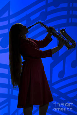 Sax Girl Photograph - Saxophone Playing Girl In Silhouette In Color 3143.02 by M K  Miller