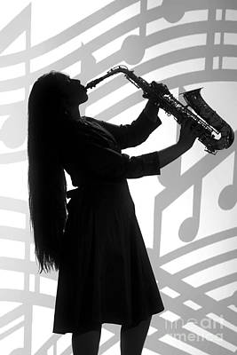 Sax Girl Photograph - Saxophone Playing Girl In Silhouette In Sepia 3143.01 by M K  Miller