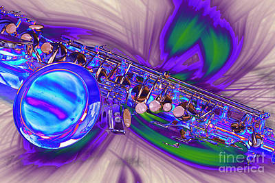 Photograph - Saxophone Swirl Music Art In Color 3248.03 by M K Miller