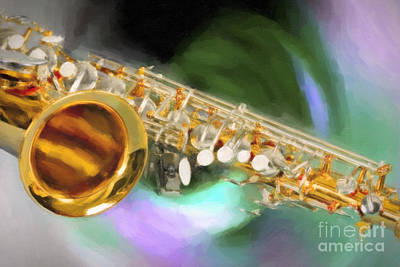Painting - Saxophone Swirl Music Painting In Color 3249.02 by M K Miller