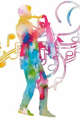 Saxophone Player. Musician Digital Art - Saxophonist by Dan Sproul