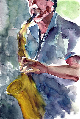 Art Print featuring the painting Saxophonist by Faruk Koksal
