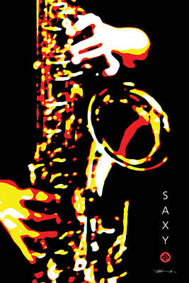 Digital Art - Saxy Black Poster by David Davies