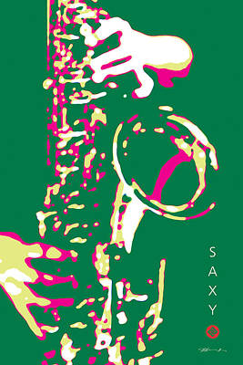 Digital Art - Saxy Green Poster by David Davies