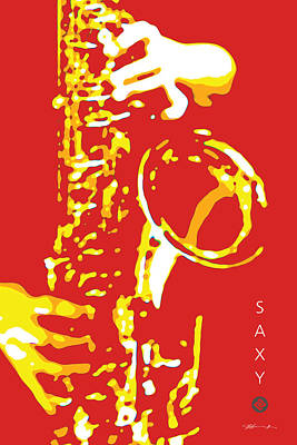 Digital Art - Saxy Red Poster by David Davies