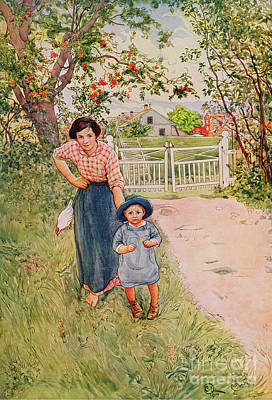 Garden Painting - Say A Nice How Do You Do To Your Uncle by Carl Larsson