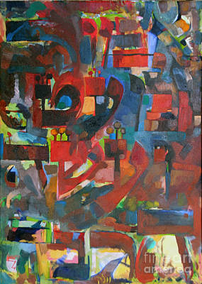 Hebrew Script Painting - Say Little And Do Much. by David Baruch Wolk