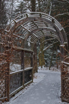 Photograph - Garden Entrance During Winter Snow At Sayen Gardens by Beth Sawickie