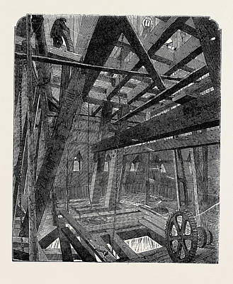 Raising Drawing - Scaffolding For Raising The Quarter Bells In The Clock by English School