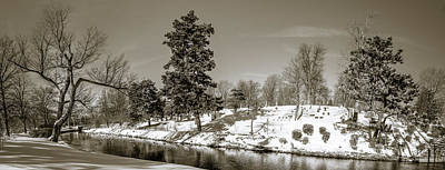 Photograph - Scajaquada Creek Through Forest Lawn - Bw by Chris Bordeleau