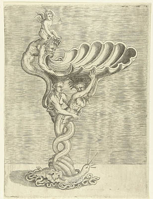 Mermaid Drawing - Scale In The Form Of A Shell, Supported By A Mermaid by Balthazar Van Den Bos And Cornelis Floris (ii) And Hieronymus Cock