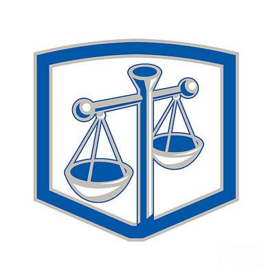 Scale Digital Art - Scales Of Justice Shield Retro by Aloysius Patrimonio