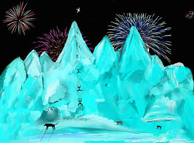 Fireworks Painting - Scaling Ice Mountain by SC Heffner