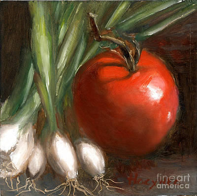 Scallions And Tomato Art Print by Addie Hocynec