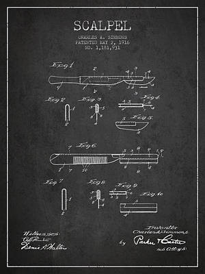 Scalpel Patent From 1916 - Dark Art Print