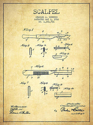 Scalpel Patent From 1916 - Vintage Art Print by Aged Pixel
