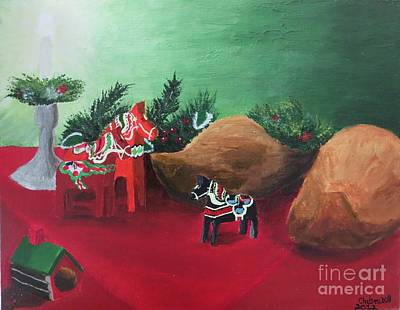 Wooden Shoes Painting - Scandinavian Dutch Noel by CE Dill