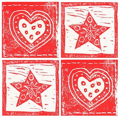 Scandinavian Hearts And Stars Art Print by Lynn-Marie Gildersleeve