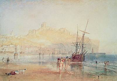 Harbor Drawing - Scarborough, 1825 by Joseph Mallord William Turner