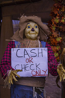 Halloween Sign Photograph - Scarecrow Holding Sign by Garry Gay