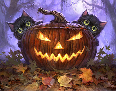 Pumpkins Painting - Scaredy Cats by Jeff Haynie