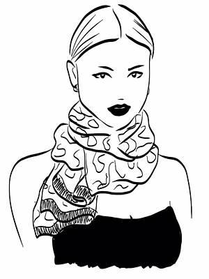 Foulard Drawing - Scarf by Carmen Grisolia