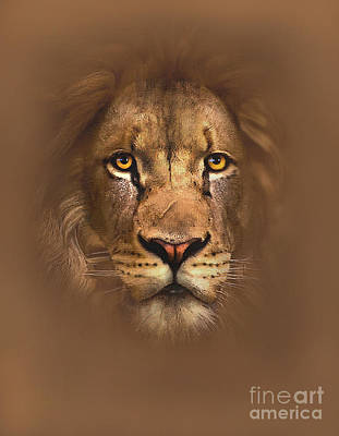 Digital Watercolor Digital Art - Scarface Lion by Robert Foster