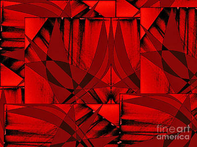 Digital Art - Scarlet Geometry by Dee Flouton