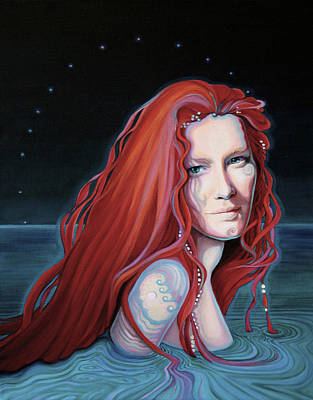 Of Mermaids Painting - Scarlet Lake-merissa Waits by Susan Helen Strok