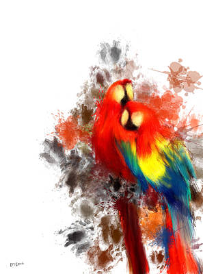 Avian Digital Art - Scarlet Macaw by Lourry Legarde