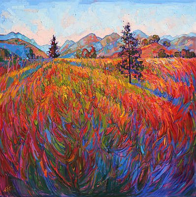 Wine Country Landscape Painting - Scarlet Pines by Erin Hanson