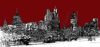 London Skyline Royalty-Free and Rights-Managed Images - Dark Ink with bright scarlet red London skyline by Adendorff Design