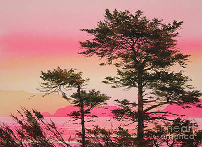San Juan Painting - Scarlet Sunset Silhouettes by James Williamson