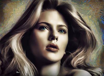 Actrice Digital Art - Scarlett 1 by Luis Blanco