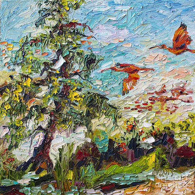 Painting - Scarlett Ibis Wildlife Tropical Summer by Ginette Callaway
