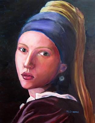 Vemeer Painting - Scarlett Johansson In Vermeer's Girl With A Pearl Earring by Marcel Quesnel