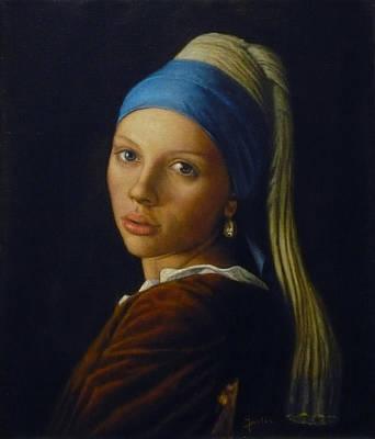Girl With A Pearl Earring Painting - Scarlett Johansson by Jaro Zbijar