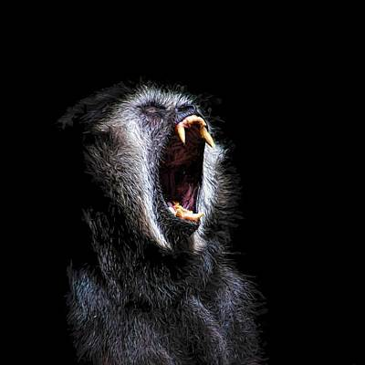 Painting - Scary Black Monkey Vicious Fanged Teeth by Tracie Kaska