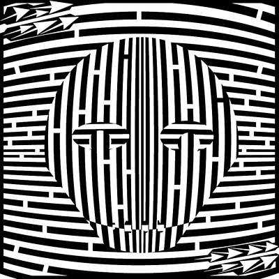 Sports Maze Drawing - Scary Hockey Mask Maze  by Yonatan Frimer Maze Artist