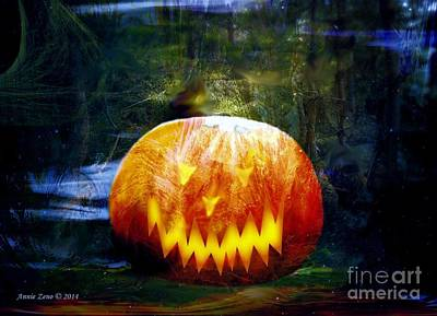 Photograph - Scary Pumpkin Halloween Art by Annie Zeno