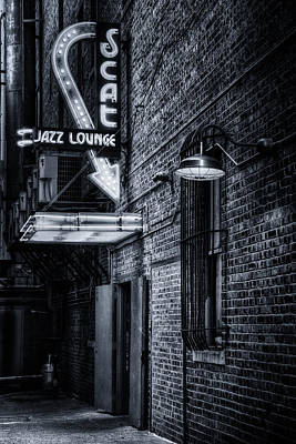 Nighttime Street Photography - Scat Lounge in Cool Black and White by Joan Carroll