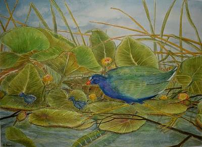 Lily Pads Painting - Scattered Purple Gallinules by Hannah Boynton