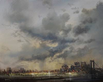Cloud Formations Painting - Scattered Showers New York City by Tom Shropshire