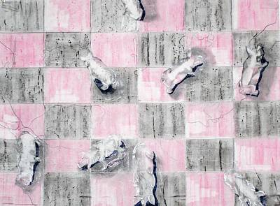 Drawing - Scattering Pigs by Liz Adkinson