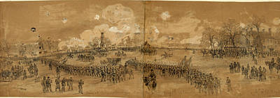 Chinese American Drawing - Scene At Chancellorsville During The Battle, May 1st 1863 by Quint Lox