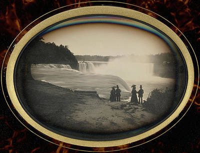 Fall Scenes Drawing - Scene At Niagara Falls Platt D. Babbitt by Litz Collection