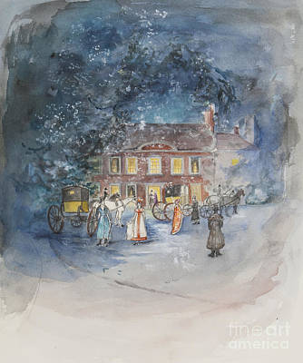 Coach Horses Painting - Scene From Jane Austens Emma by Caroline Hervey Bathurst