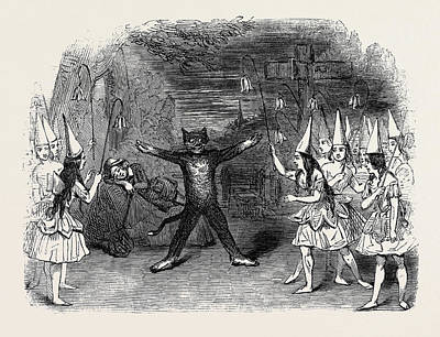 Burlesque Drawing - Scene From The Burlesque Of Whittington And His Cat by English School