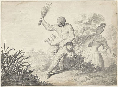 Beating Drawing - Scene From The Commedia Dellarte With Boy Getting Beating by Quint Lox