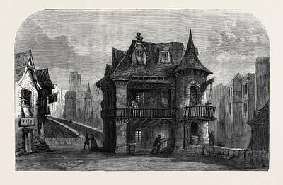 Architecture Drawing - Scene From The House On The Bridge Of Notre Dame by English School